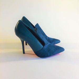 Joe Fresh Fur Leather Heels Pumps Blue Shoes Sz7